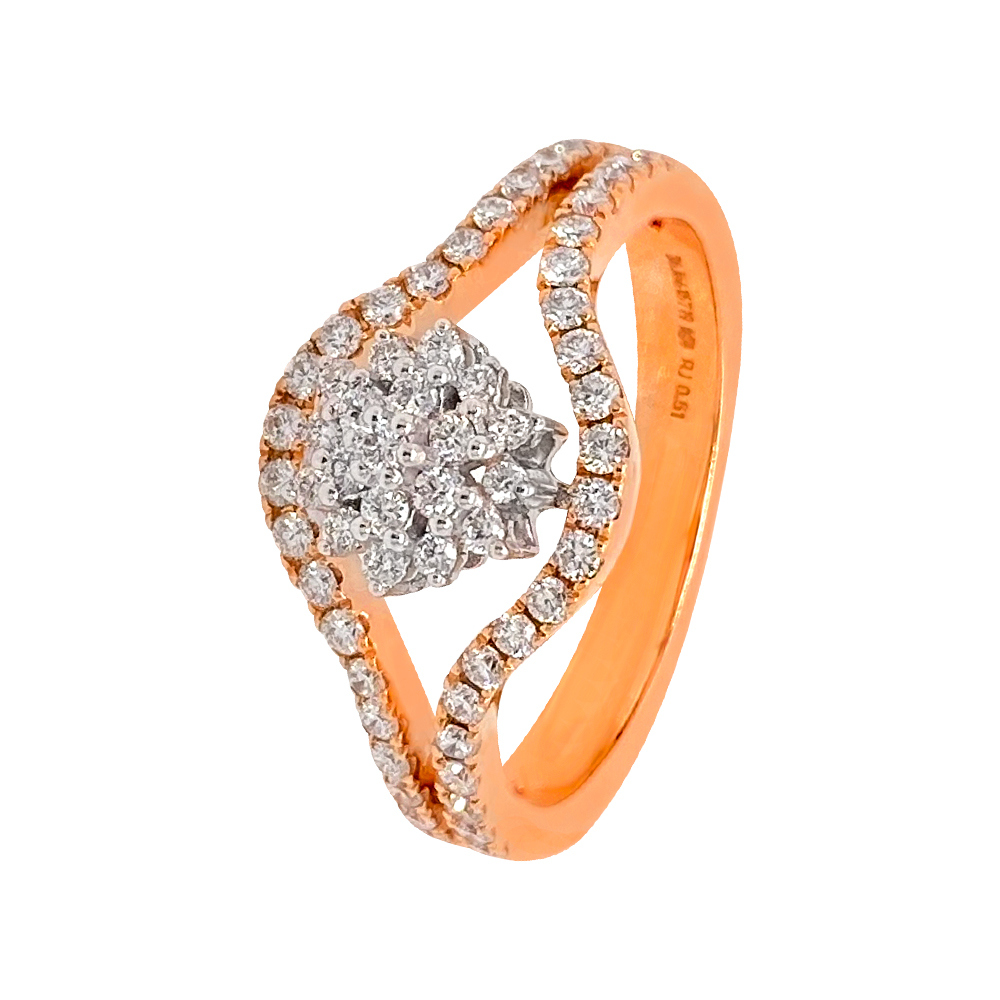 Glittering Cluster Curved Floral Design Diamond Ring