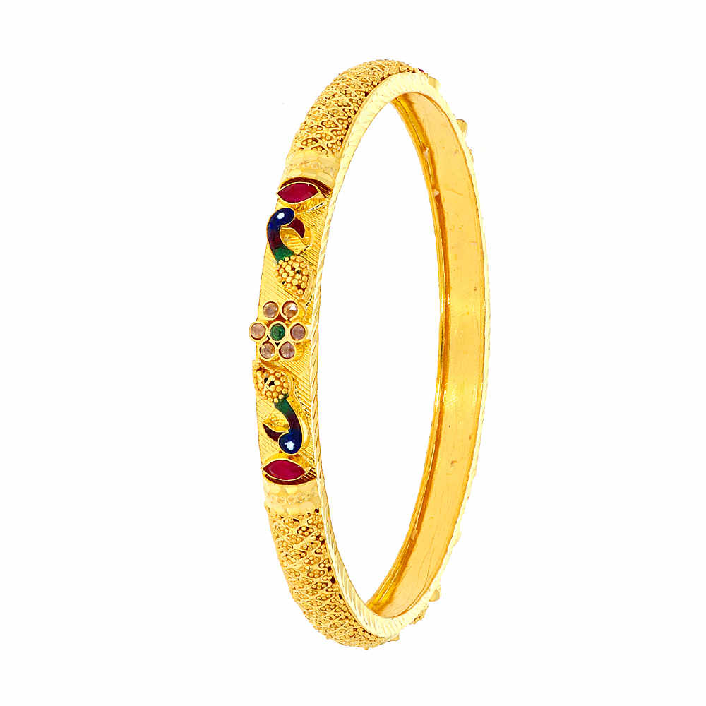 Gemstone Glossy Finish Multicolour Enamel Synthetic Emerald Ruby Peacock Design With Studded CZ Gold Bangles DG195-1_2.jpg