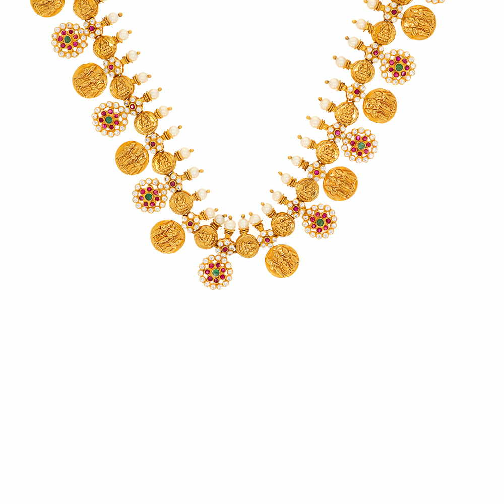 Gemstone Antique Finish Temple Coin Design Pearl Studded With Synthetic CZ Emerald Ruby Gold Necklace DG262-1_2.jpg