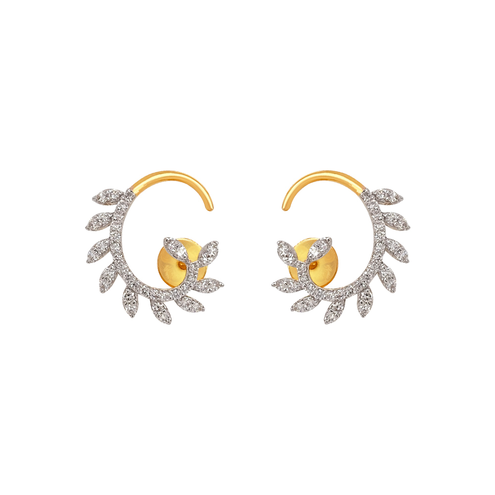 Elite Curve Leaf Diamond Earrings