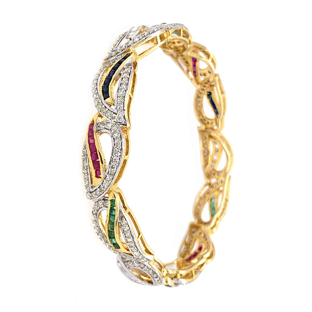 Glittering Leafy Design Studded With Ruby Emerald Sapphire Diamond Bangle