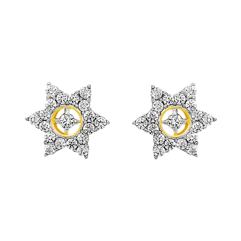 Sparkling Cluster Floral CZ Diamond Earrings