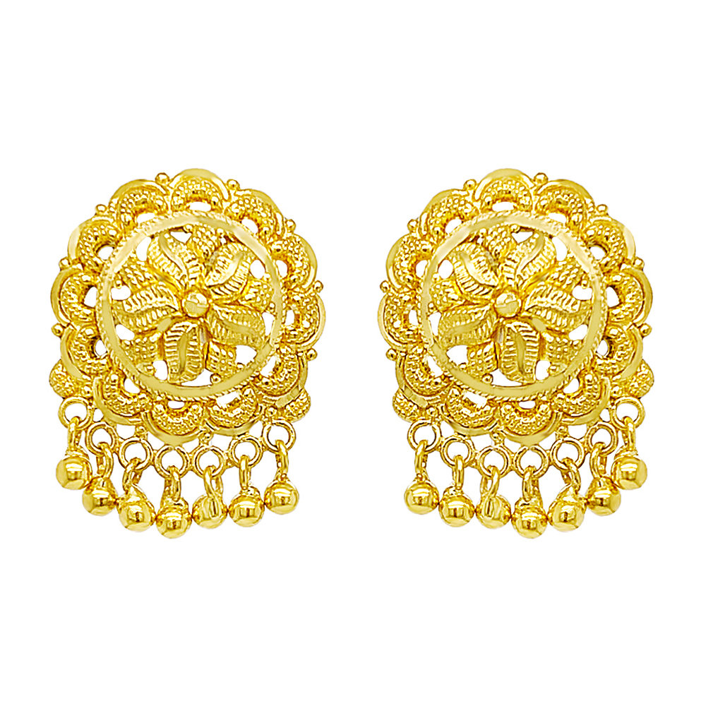 Classical Textured Floral Dangler Gold Earrings