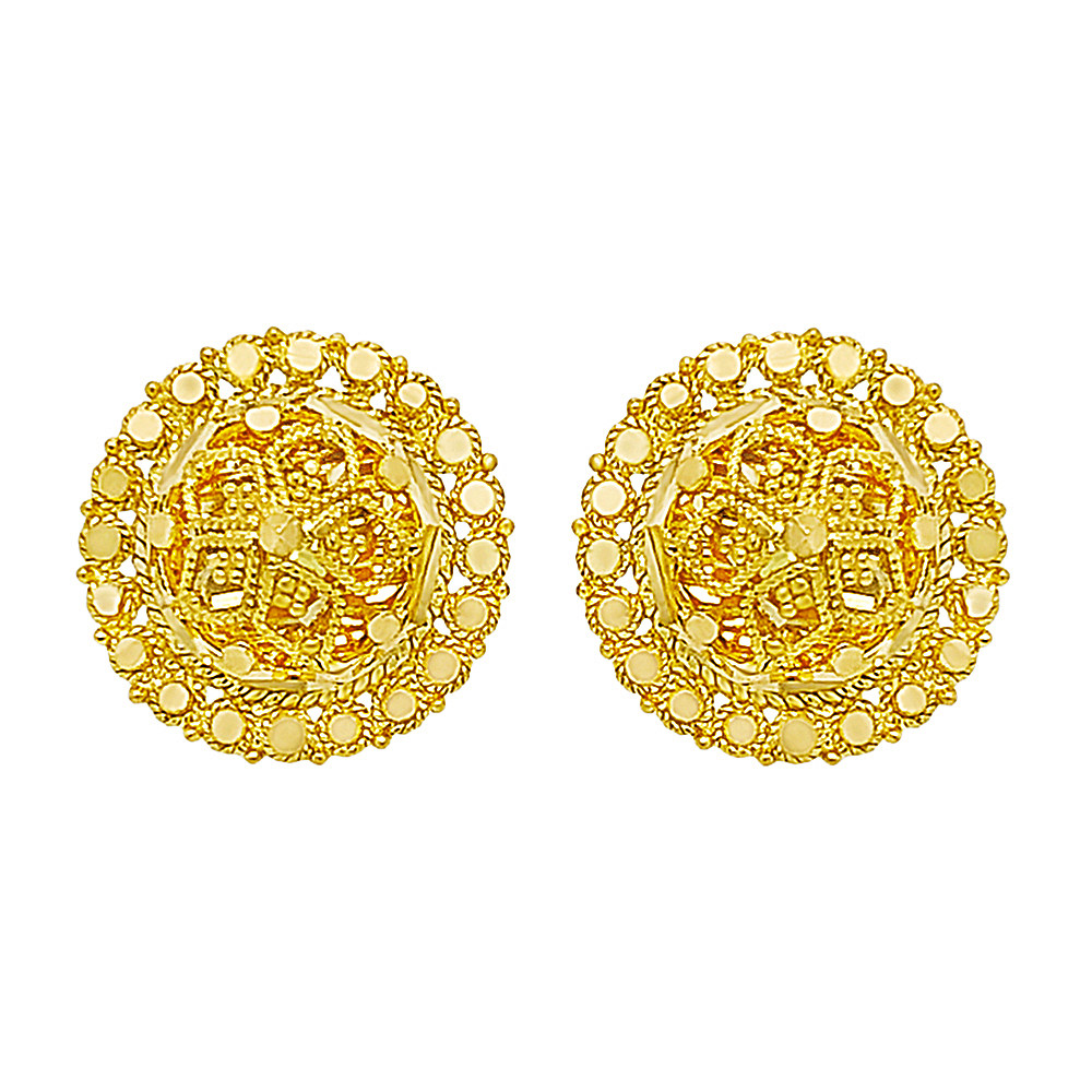 Traditional Cutout Stud Gold Earrings