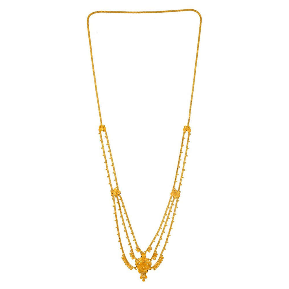 Glossy Finish Mutli Line Floral Design Traditional Gold Necklace-FCH-13502