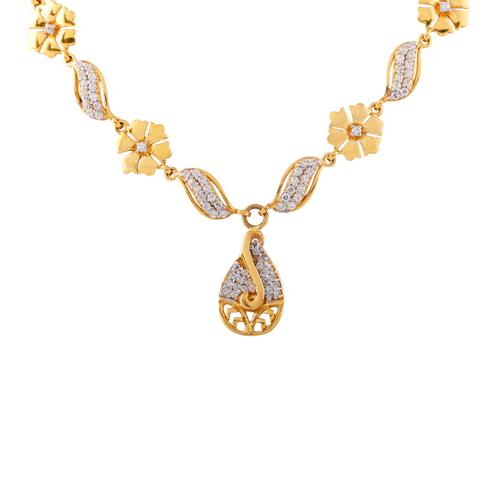 Elegant Matte Finish Drop Cluster CZ Floral Gold Necklace For Women - FH18