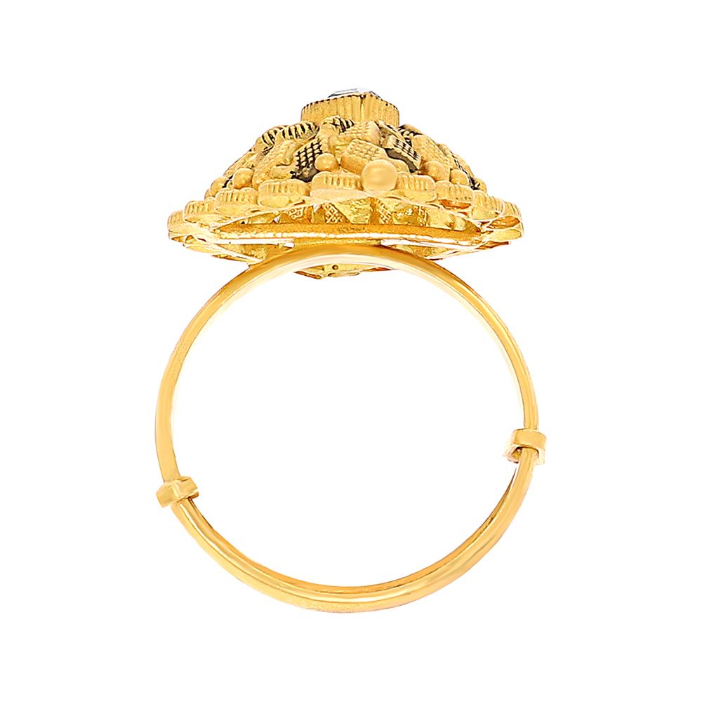 Gold Rings Traditional Textured Dome Adjustable Gold Ring FIN26536-3.jpg