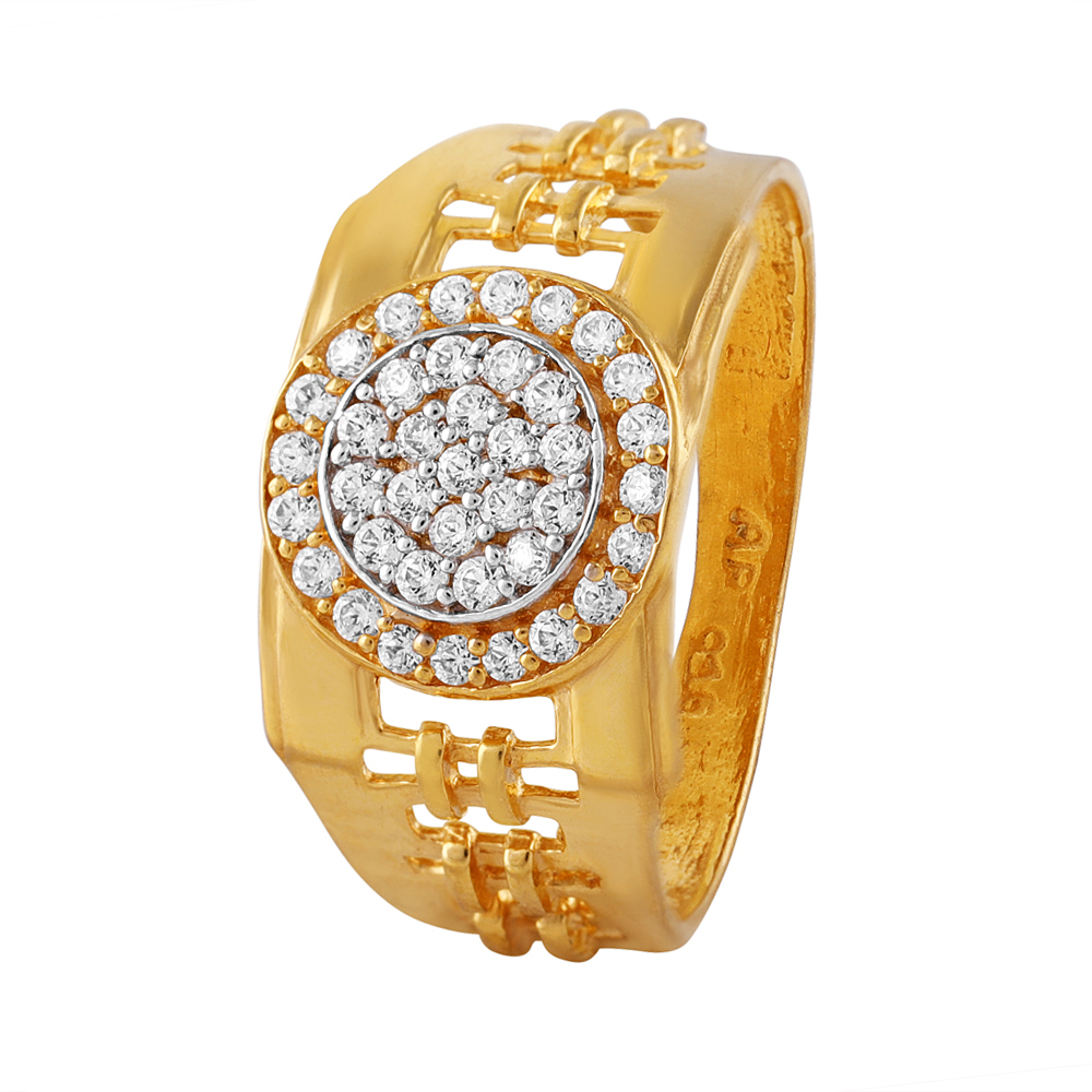 Cluster CZ Studded Glossy Finish Gold Mens Ring - FR841