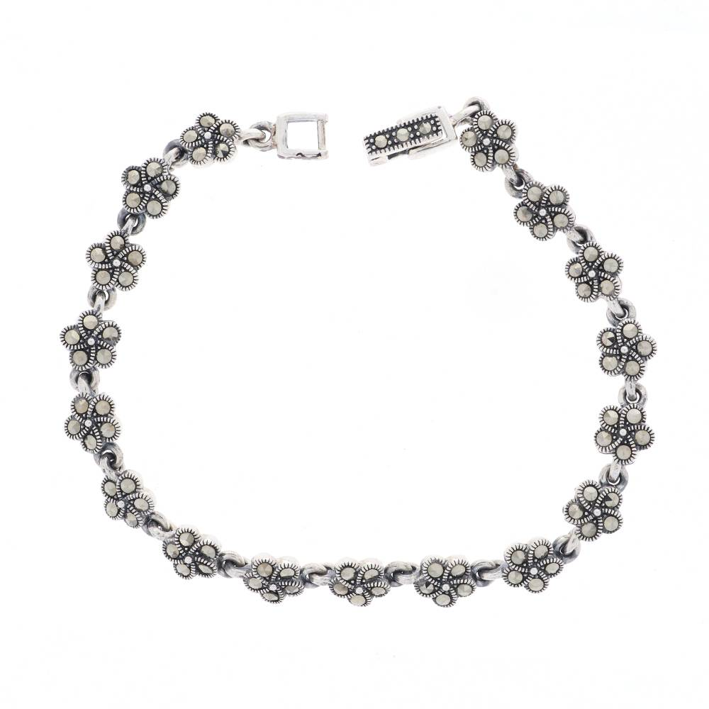 Silver Glossy Oxidised Finish Floral Design Studded With Synthetic Marcasite Openable Silver Bracelet  GIRLS_BRACELET-5-1.jpg