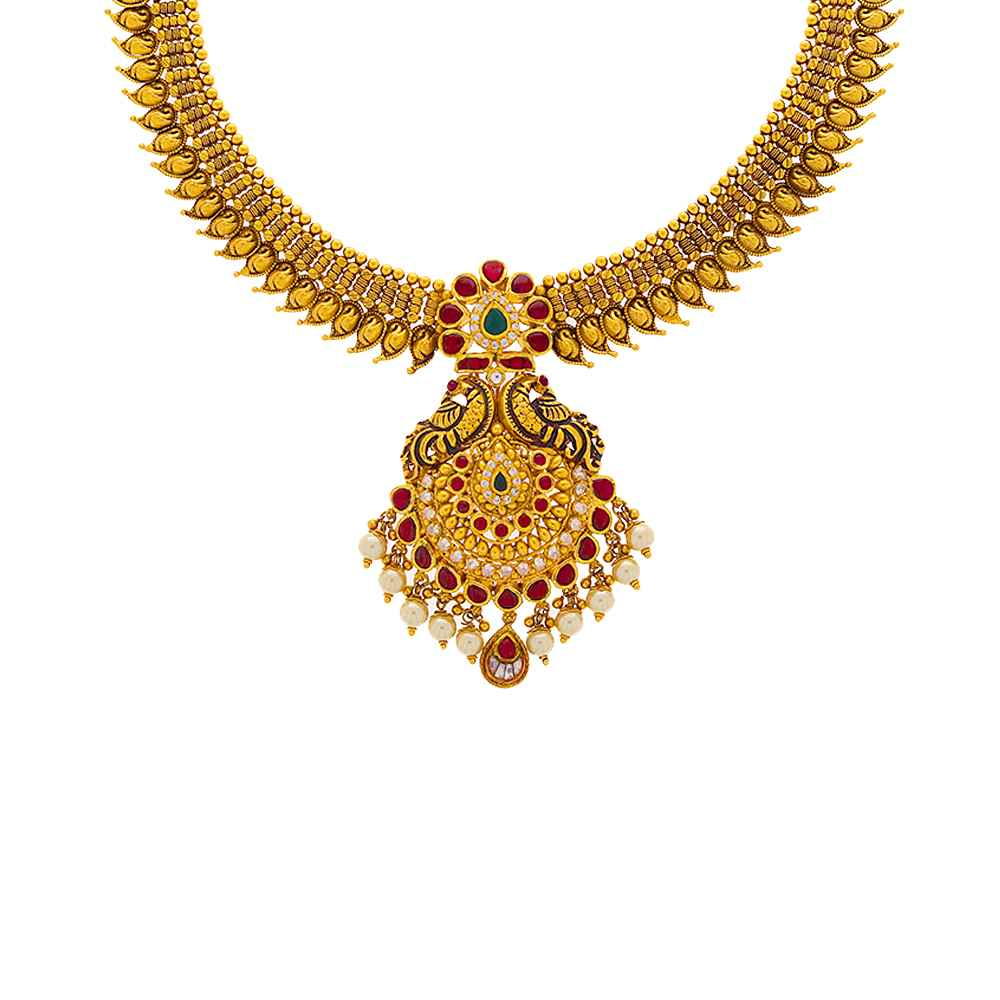 Gemstone Necklace Paisley Peacock Necklace GN1749-1.jpg
