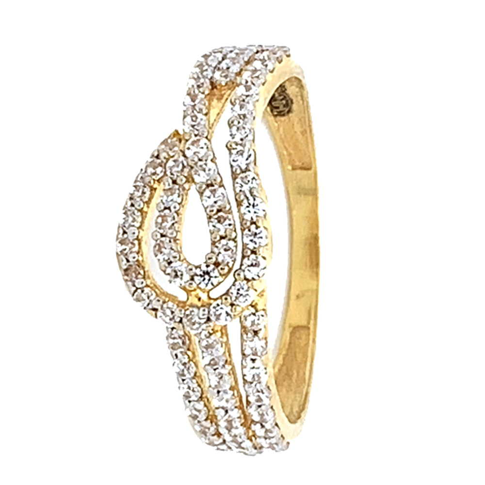 Glossy Finish Curved Design With CZ Studded Gold Ring