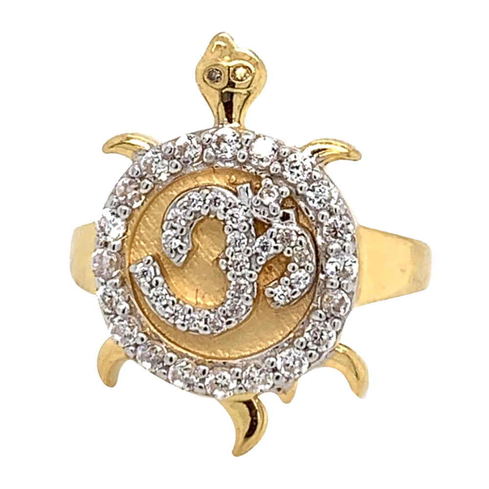 Glossy Finish Tortoise OM Design With CZ Studded Gold Ring