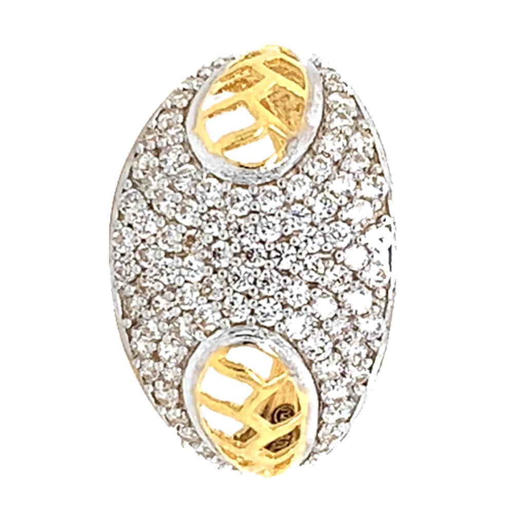 Glossy Finish Rhodium Polish Contemporary Design With CZ Studded Gold Ring