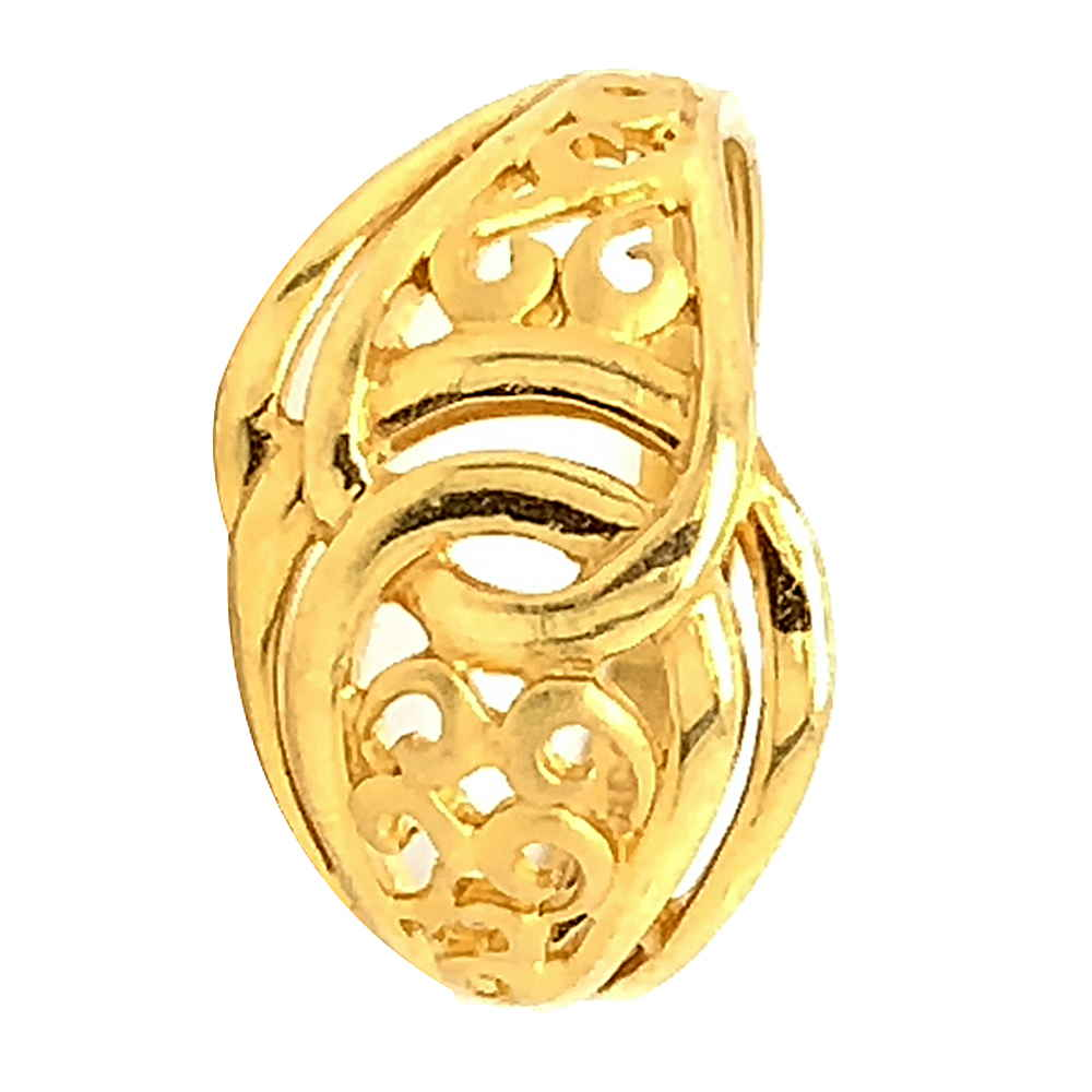 Glossy Finish Curved Band Design Gold Ring
