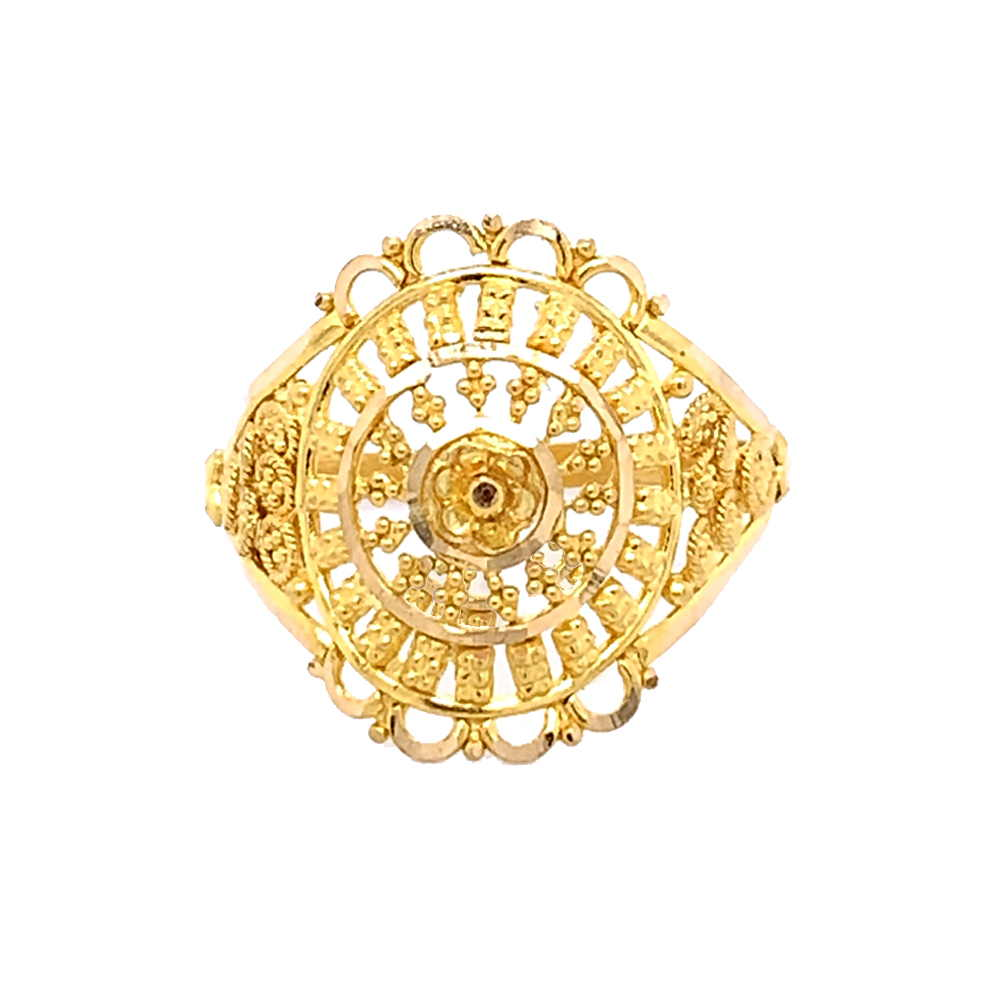 Glossy Finish Filigree Floral Design Bead Ball Gold Ring