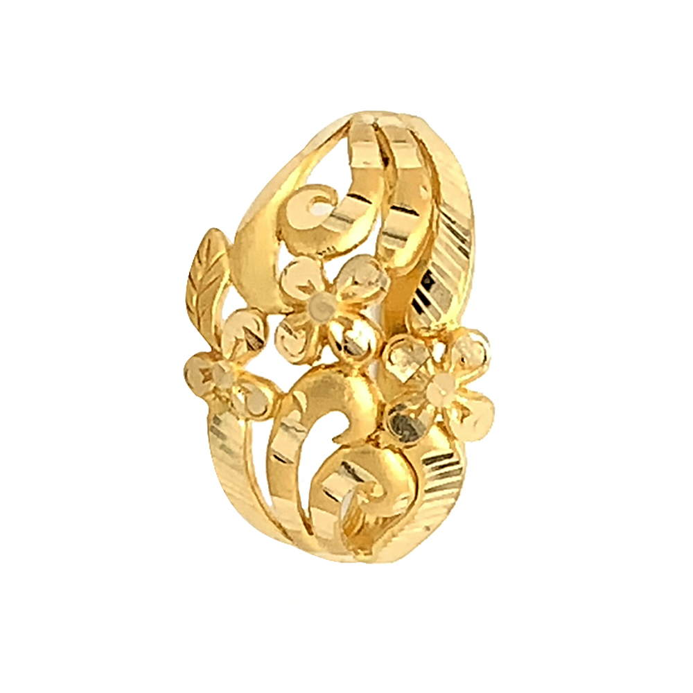 Glossy Finish Diamond Cut Floral Design Gold Ring