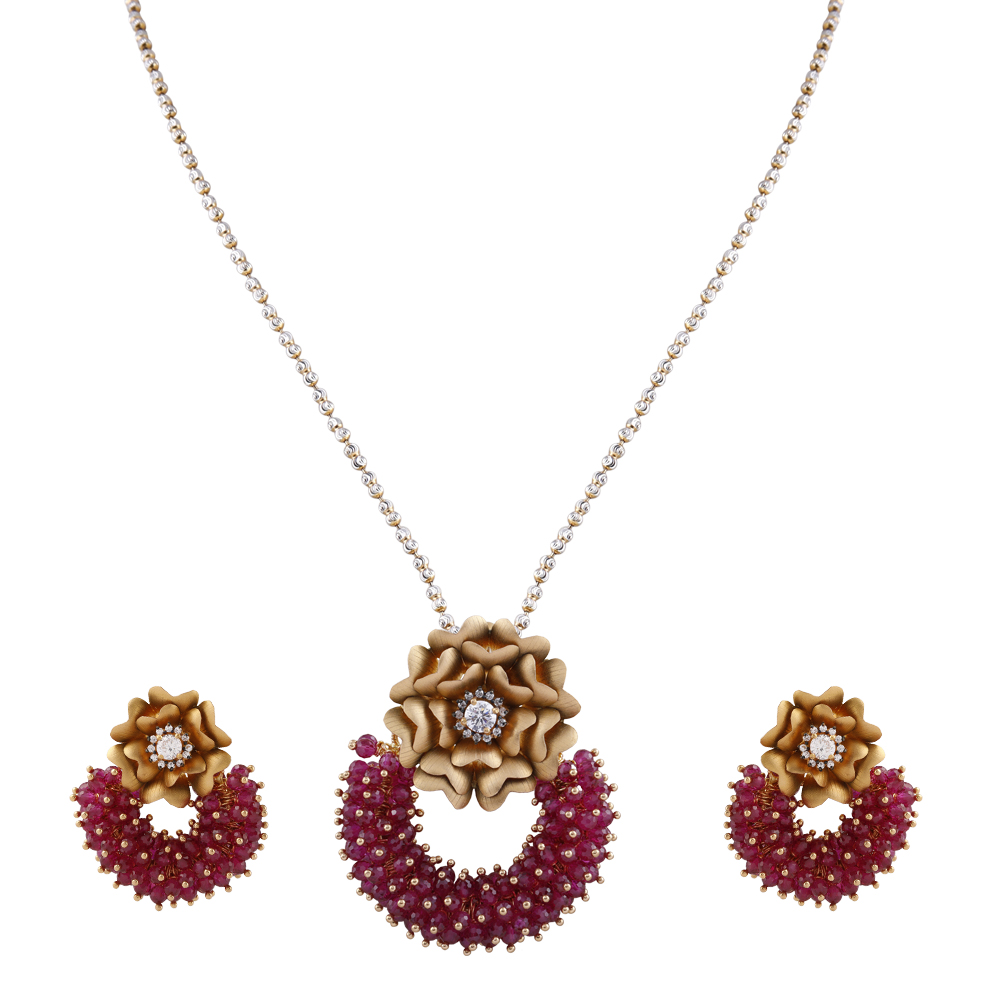 Elegant Ruby Bead With CZ Stone Studded Floral Gold Pendants Set - GPS390