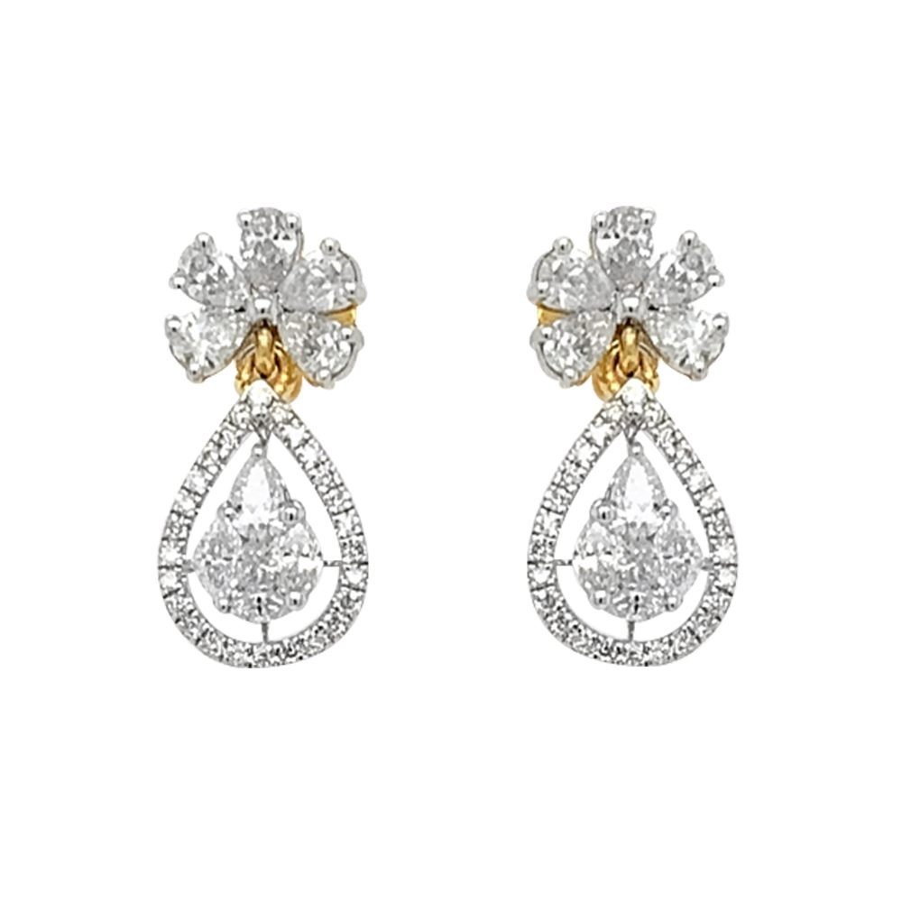 Sparkling Prong Set Pear Princess Round Cut Drop Dangler Diamond Earrings