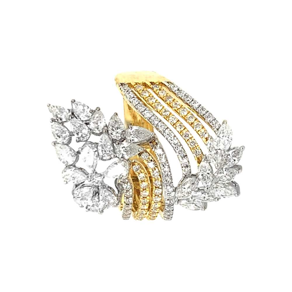 Diamond Rings Sparkling Pave Prong Set Marquise Cut Twisted Cocktail Design Diamond Ring ILR-1378-A-1.jpg