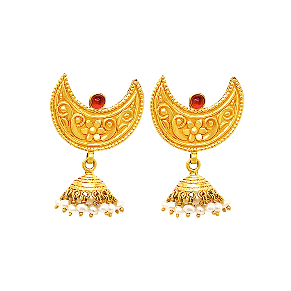 Classical Textured Gemstone Gold Earrings
