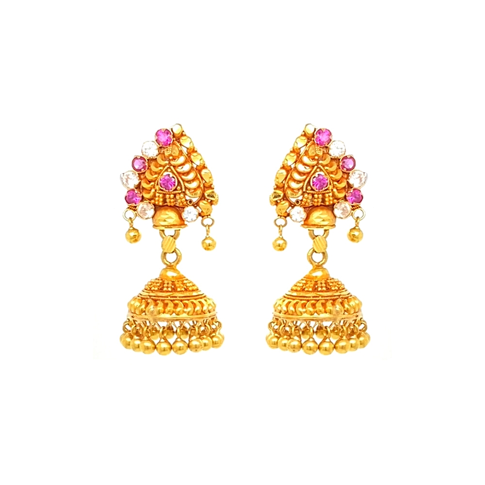 Ceremoinal Paisley Gemstone Gold Jhumka