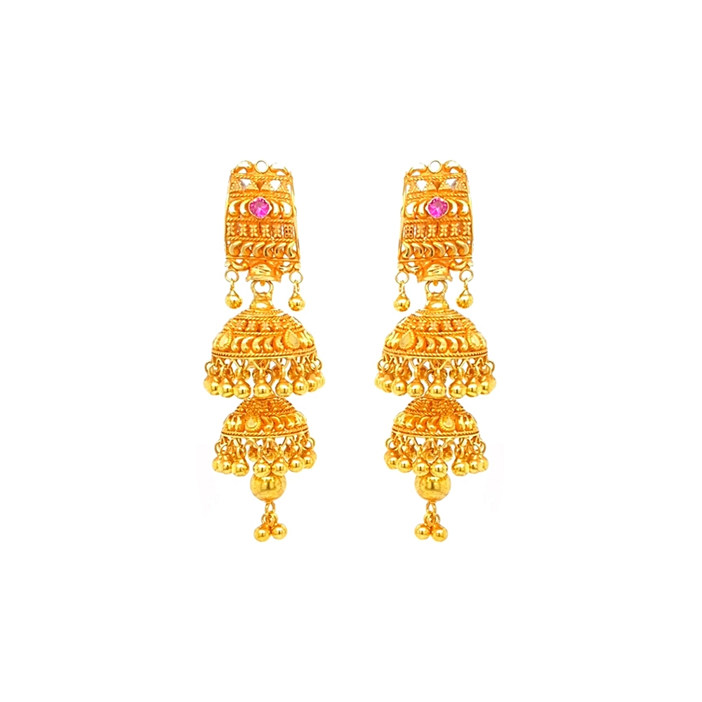 Traditional Gemstone Gold Jhumka Earrings