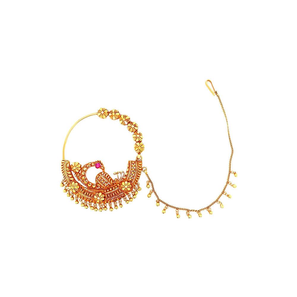 Traditional Textured Peacock Gemstone Gold Nose Ring