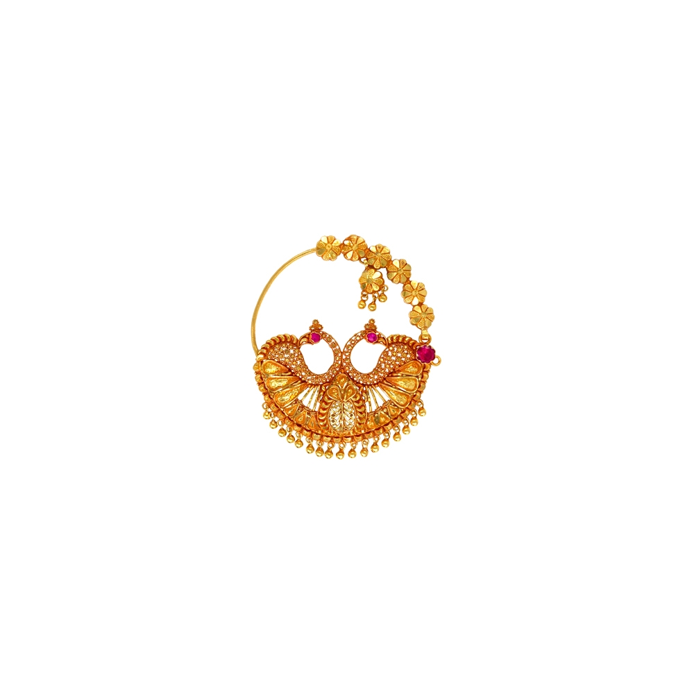 Ceremonial Filigree Peacock Gemstone Gold Nose Ring