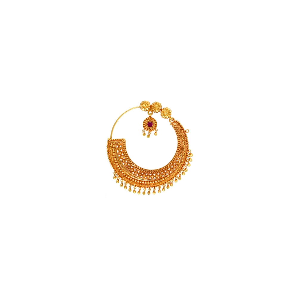 Traditional Textured Floral Gemstone Gold Nose Ring