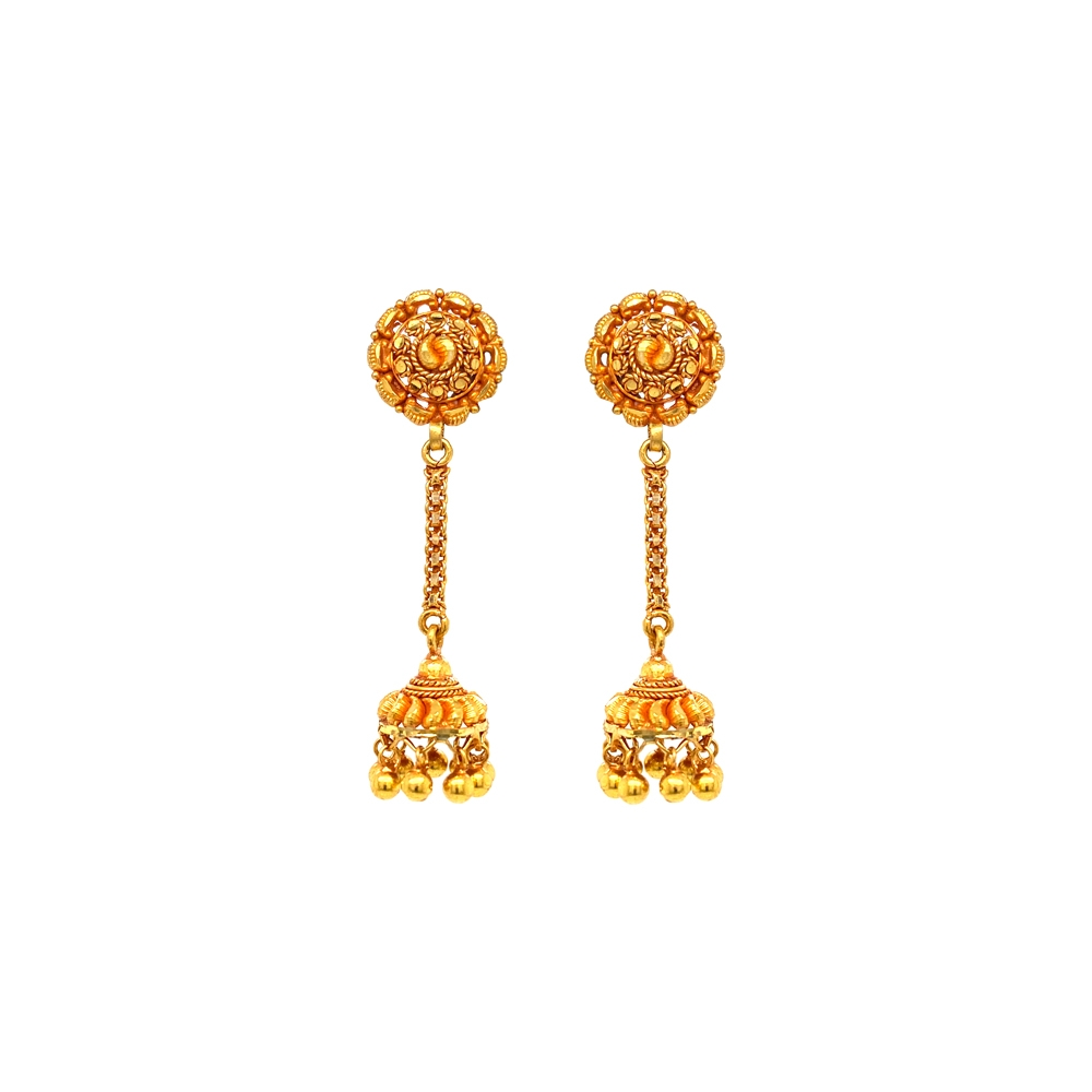 Classical Textured Dangler Gold Jhumka