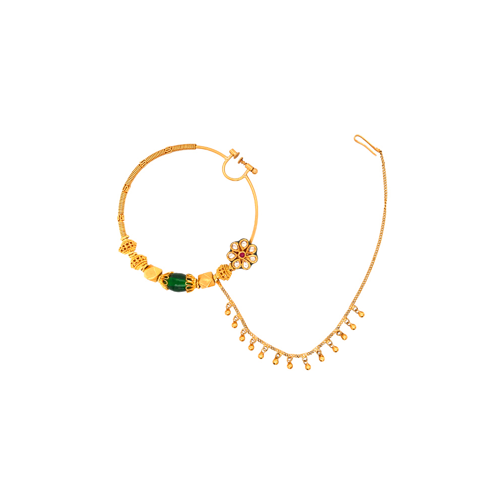 Traditional Floral Gemstone Gold Nose Ring
