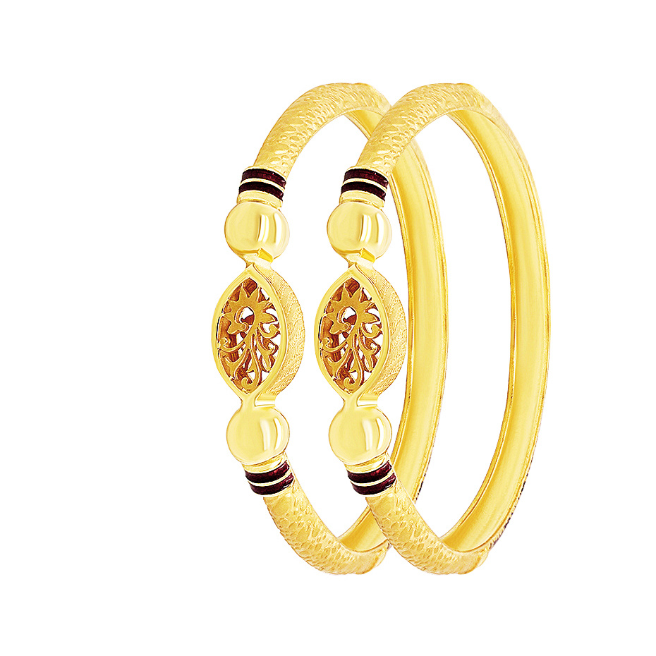 Gold Classical Textured Cutout Gold Bangle (Set Of Two) K2147-1_2.jpg