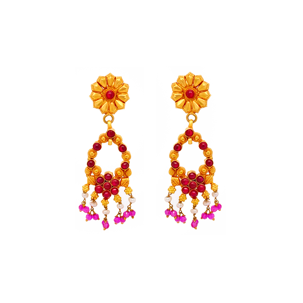 Traditional Textured Floral Gemstone Gold Earring