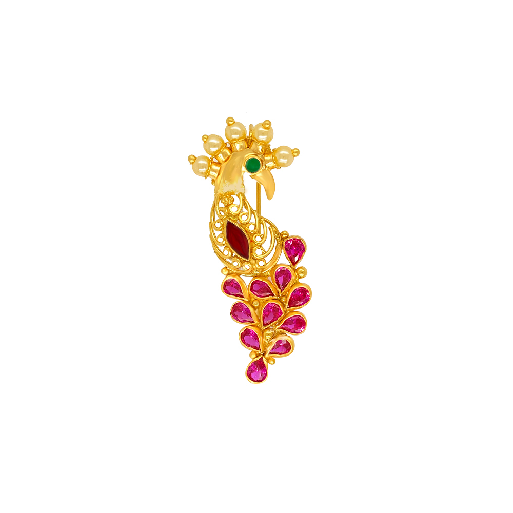 Traditional Cutout Textured Gemstone Gold Nath