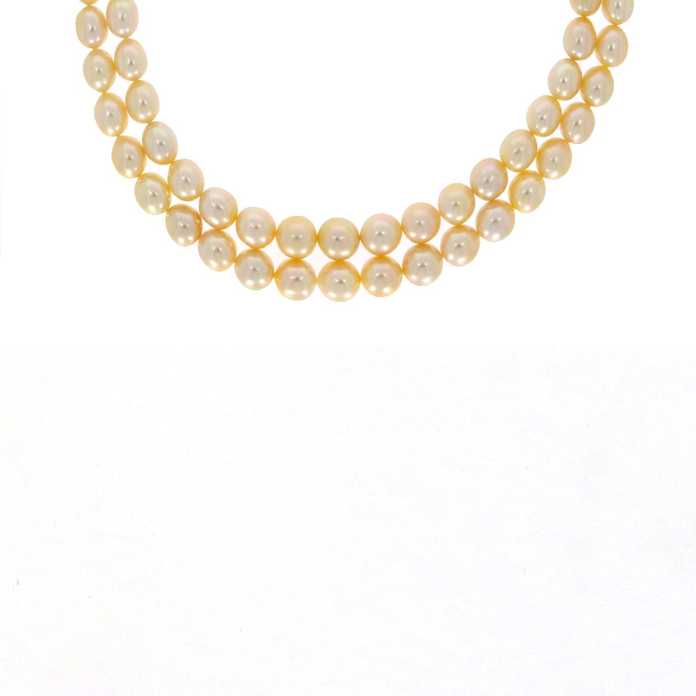 Gemstone Two Layer White Natural Pearl Necklace MG58-1.jpg