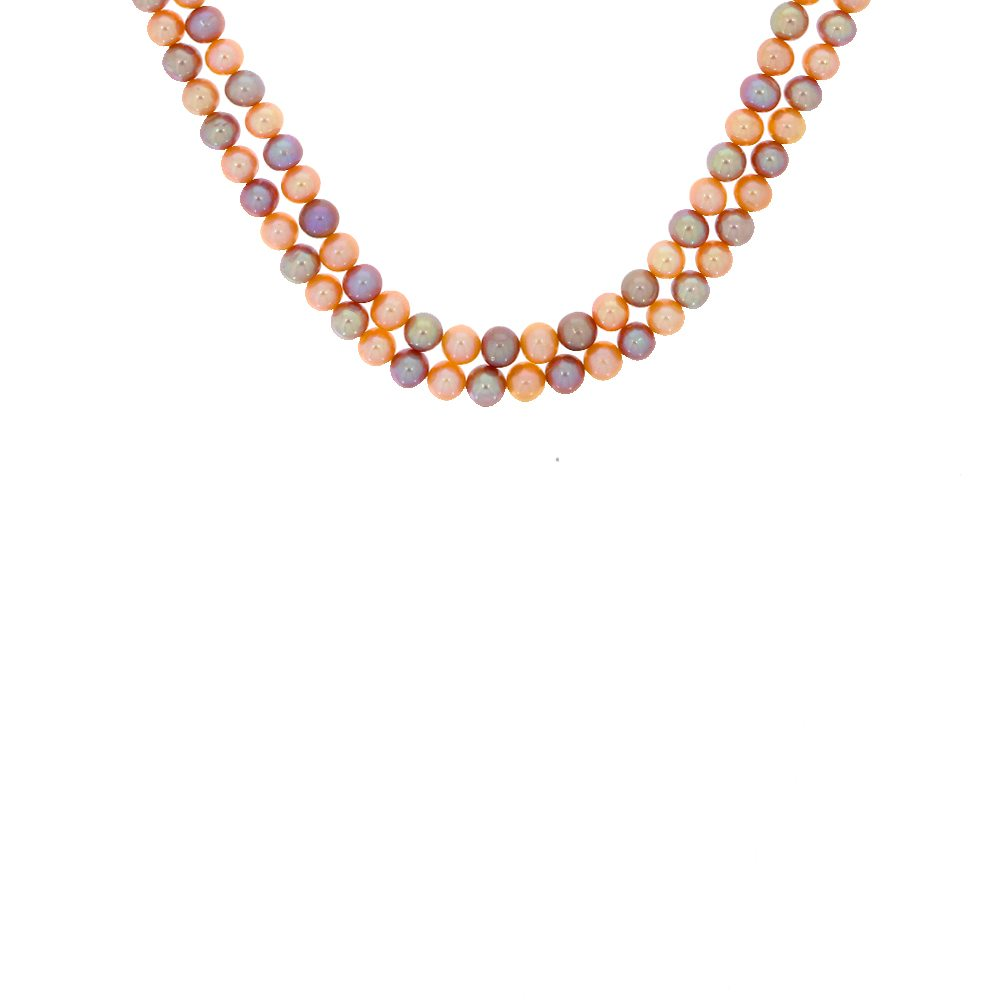 Gemstone Multicolour Natural Pearl Dual Line Linked Silver Necklace MGM8-1.jpg