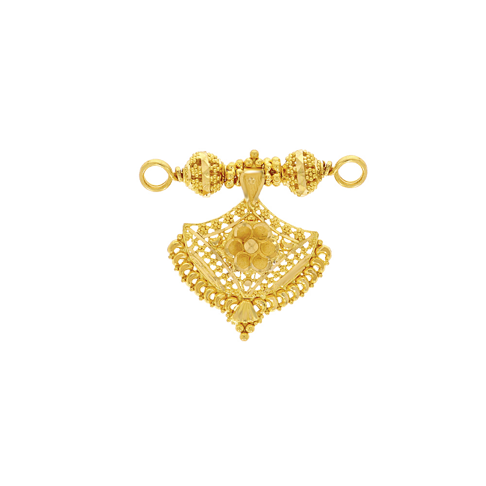 Gold Traditional Embossed Floral Gold Mangalsutra Pendant ML25028-1_2.jpg