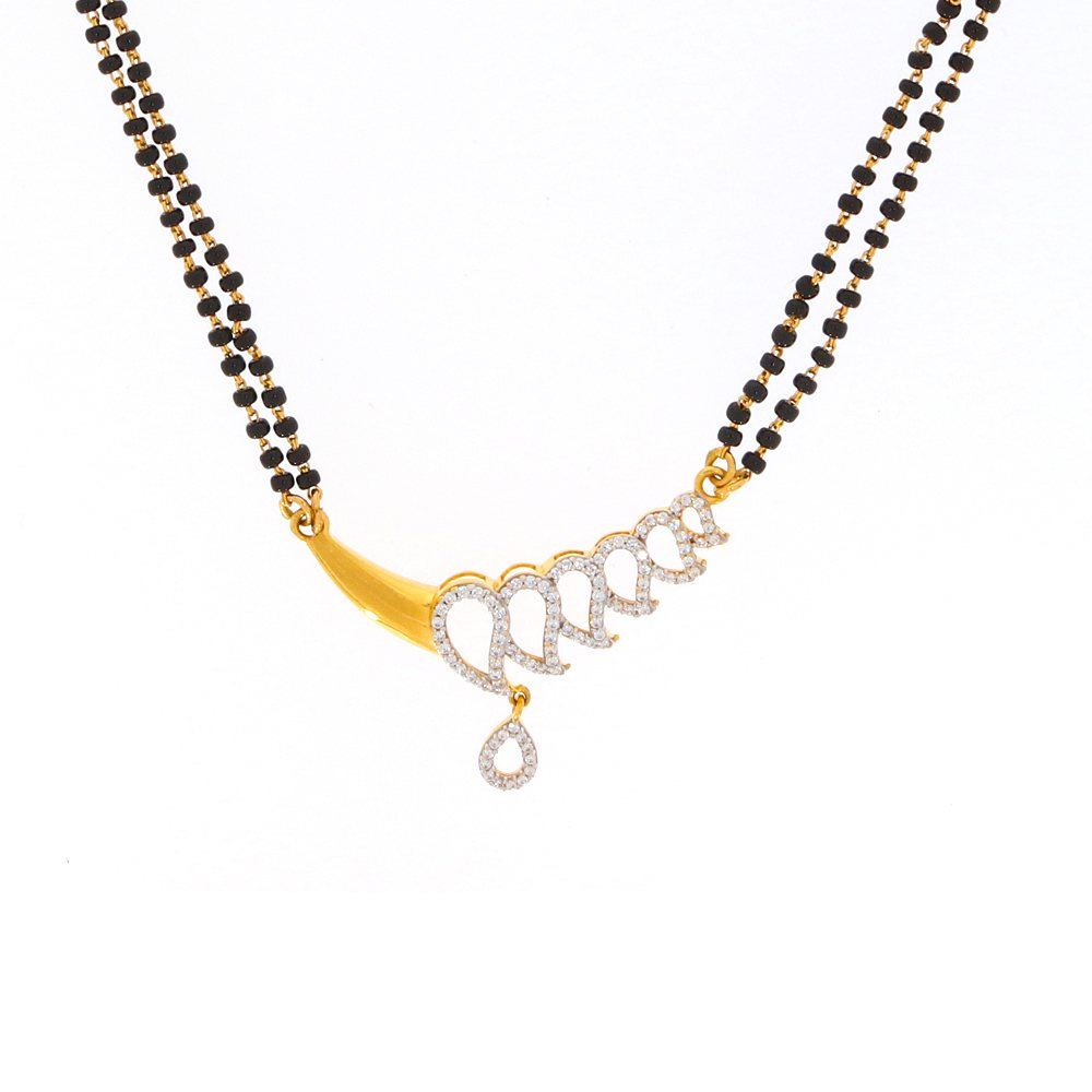 Cubic Zirconia - CZ Glossy Finish Leafy Design CZ With Synthetic Black Beads Gold Mangalsutra MS290-1.jpg