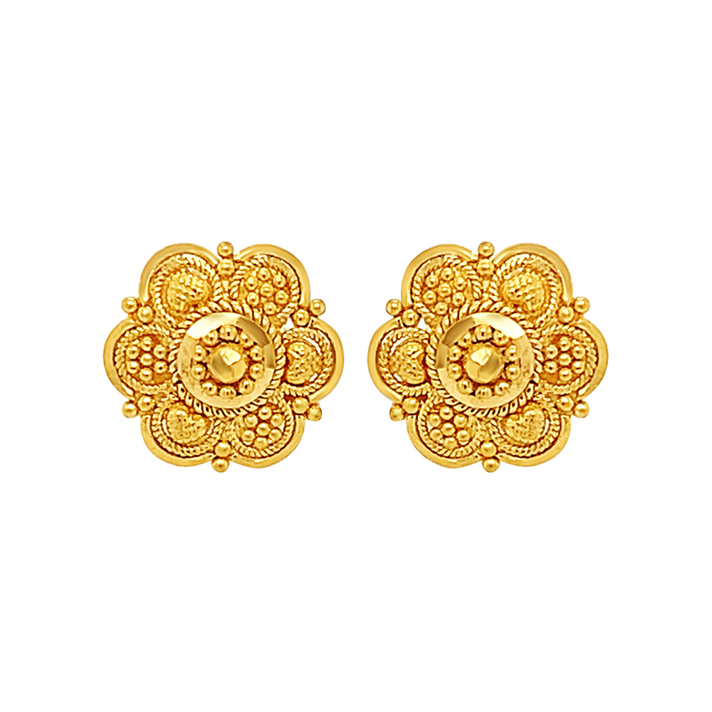Traditional Embossed Bead Floral Gold Earrings