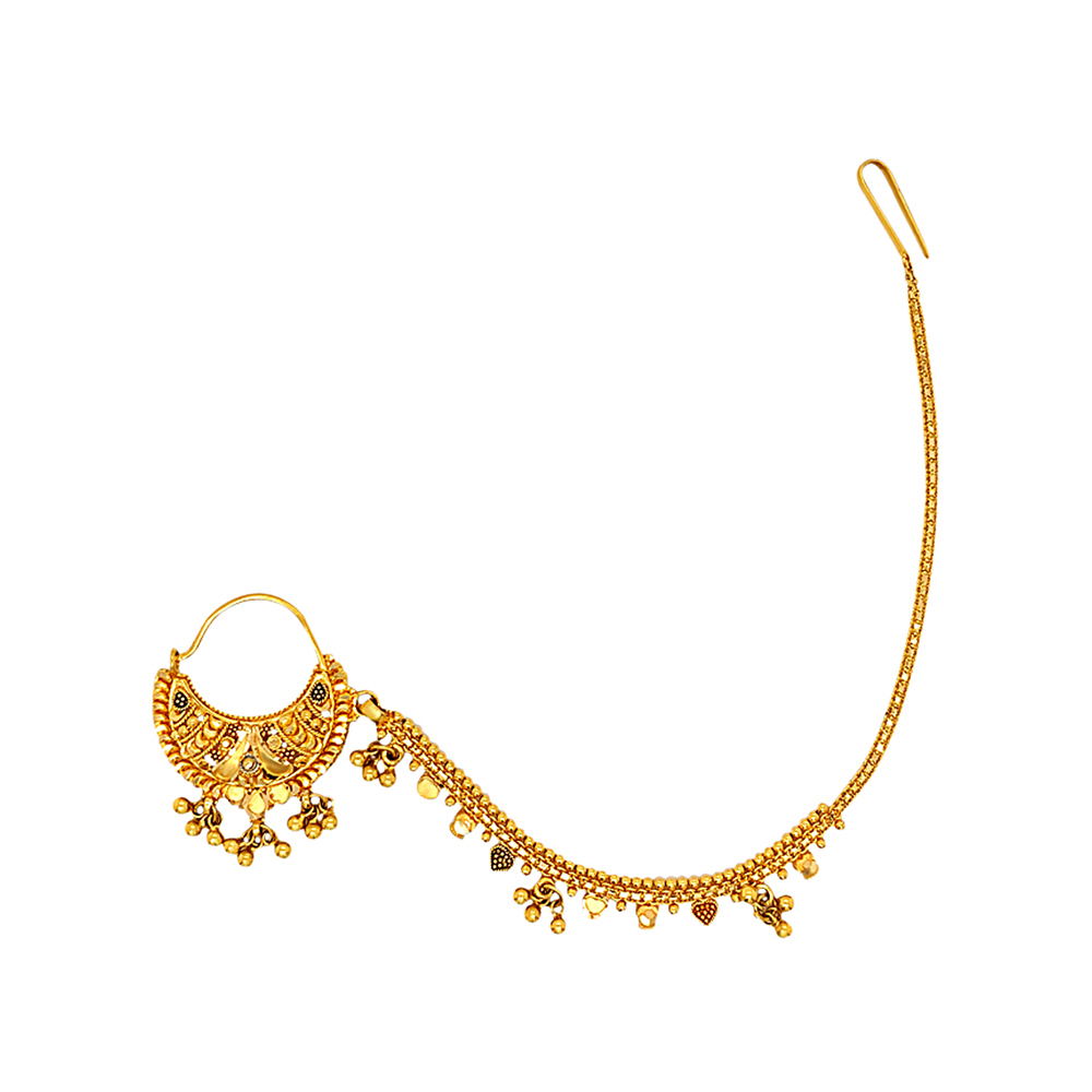 Traditional Embossed Nose Ring With Extenstion