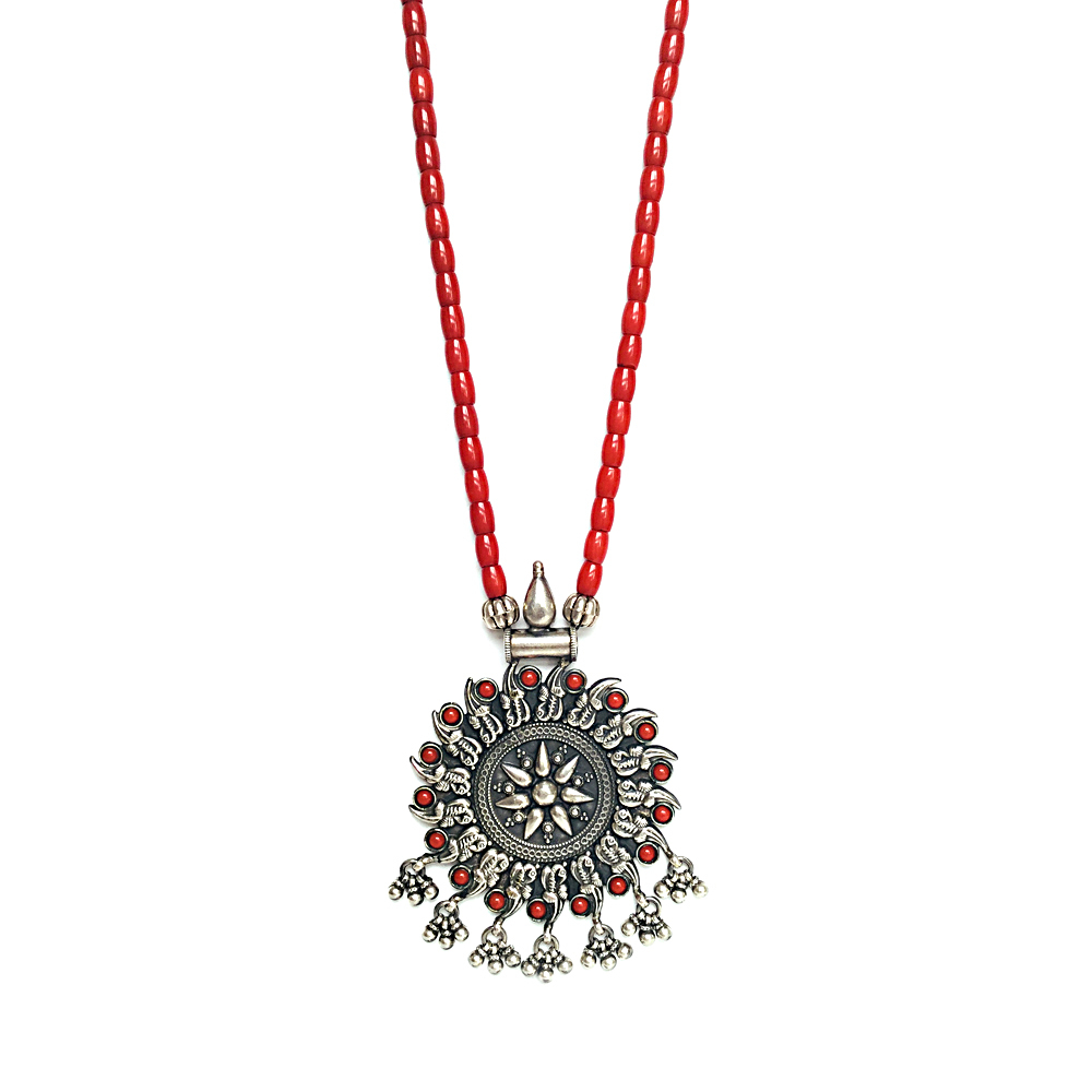 Gemstone Natural Coral Studded Silver Pendant With Coral String NASOH1014-1.jpg