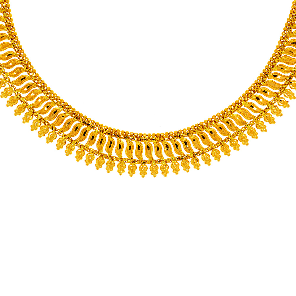 Gold Traditional Gold Textured Necklace NE03211-1.jpg