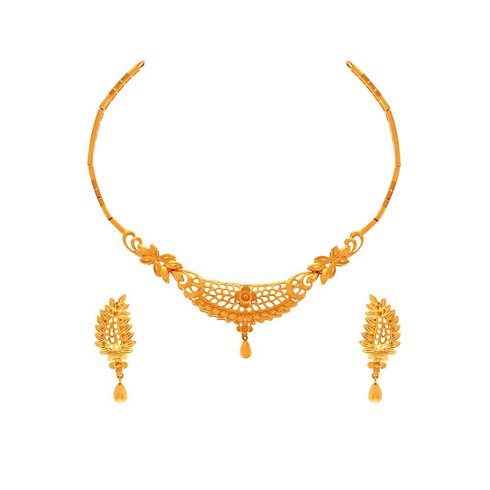 Gold Delicate Traditional Cutout Floral Gold Necklace Set NEC25143-1.jpg