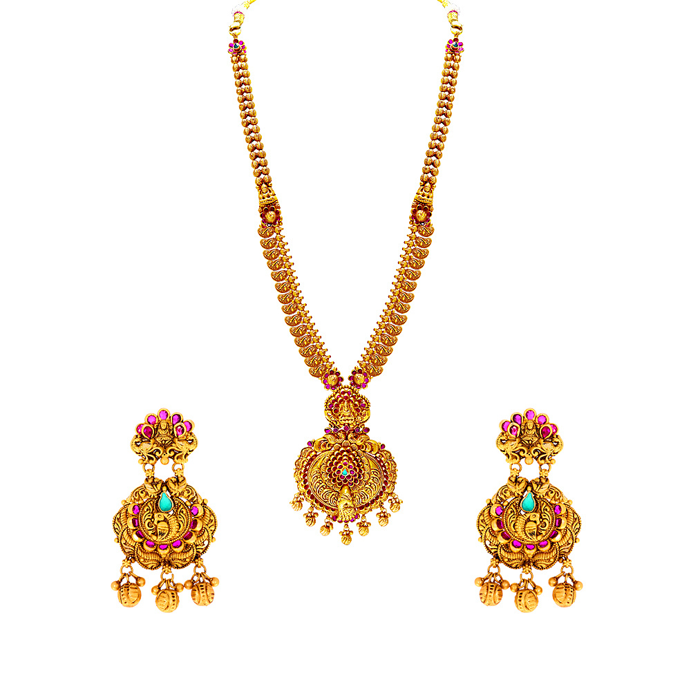 Gemstone Traditional Temple Synthetic Gemstone Gold Necklace Set NS1289-1.jpg