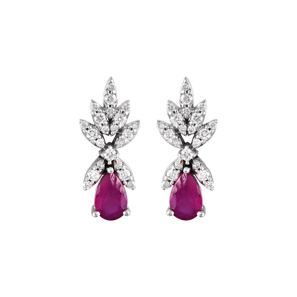 Sparklling Blossom Design Prong Set With Synthetic Ruby Studded Diamond Earrings