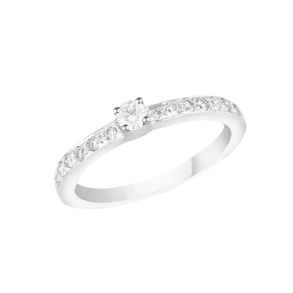 Sparkling Solitaire Design Studded With Side Diamond Ring