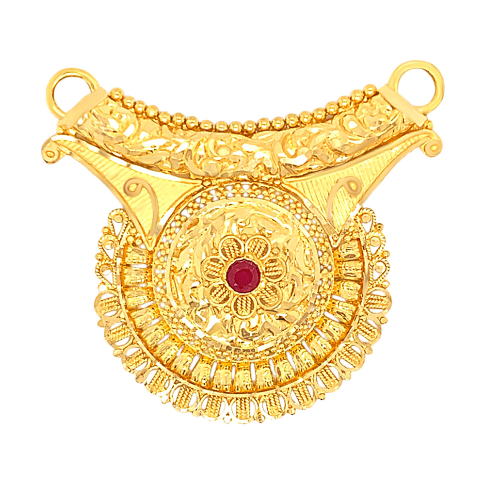 Traditional Texutred Cutout Floral Gemstone Gold Tanmaniya
