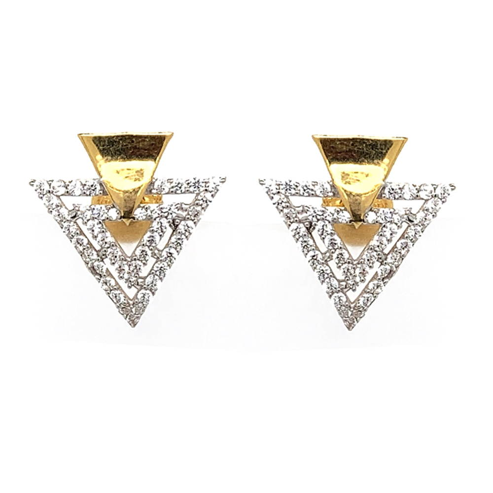 Glossy Finish Trident Design With CZ Studded Gold Earrings