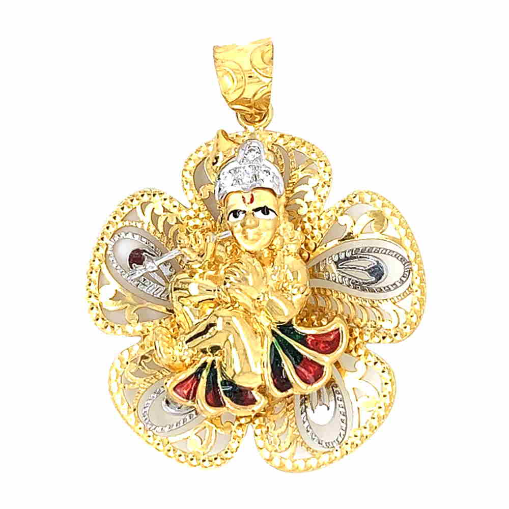 Glossy Finish Enamel Floral Lord Krishan With CZ Studded Gold Pendant