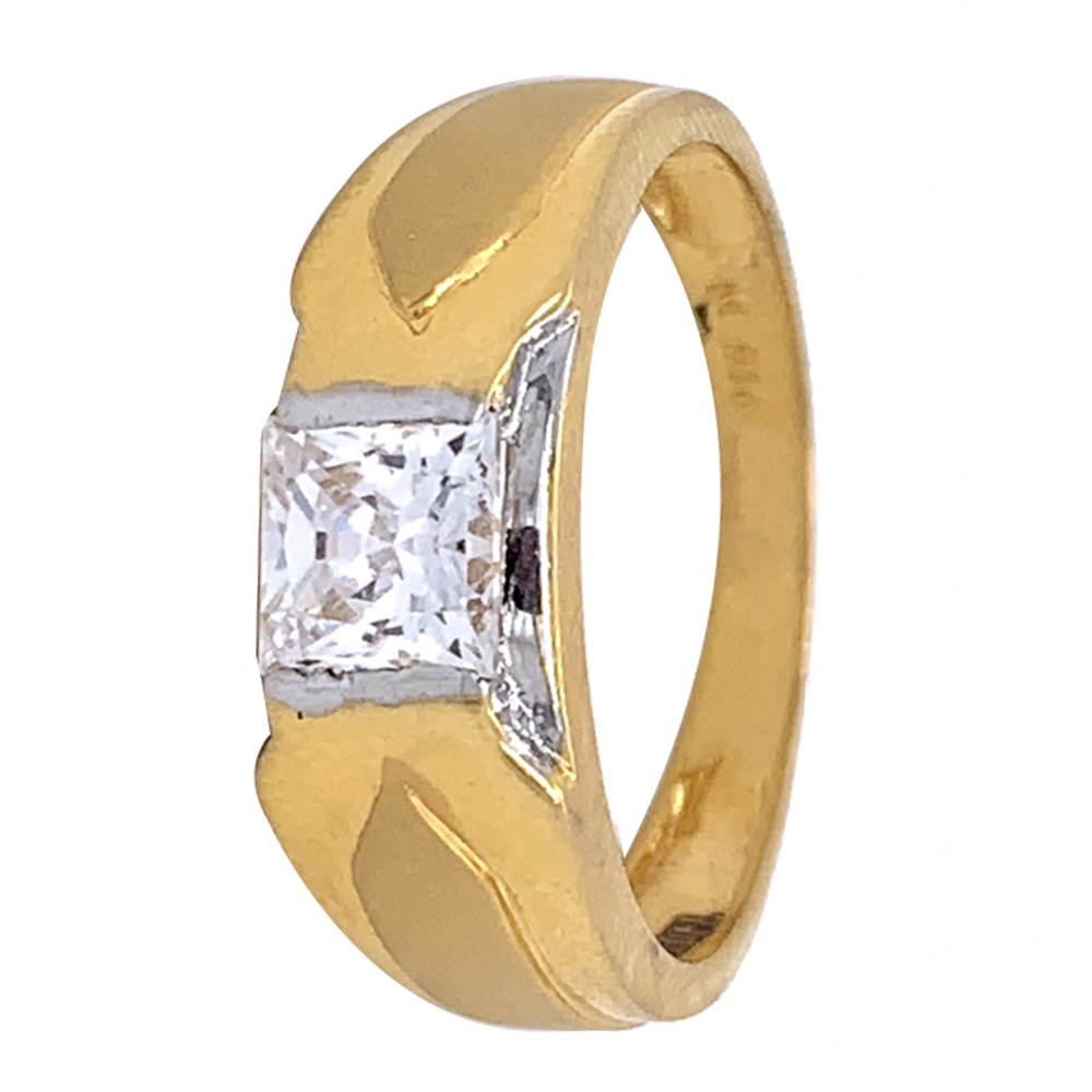 Glossy Finish Rhodium Polish Solitaire Design With CZ Studded Gold Ring